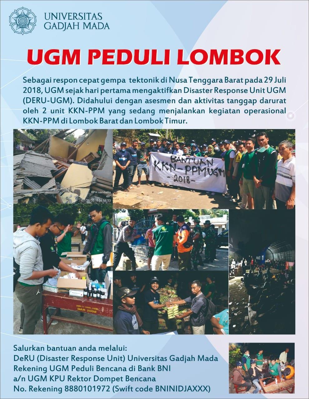 UGM PEDULI BENCANA GEMPA LOMBOK 2018 – KKN Peduli Bencana Gempa Lombok